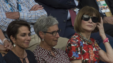 Jayne Hrdlicka, Victorian Governor Linda Dessau and Vogue editor-in-chief Anna Wintour at the Australian Open in January.