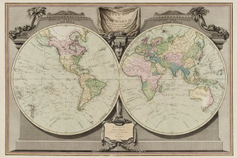 The 'New map of the World' in 1800, shows Cook's discoveries.