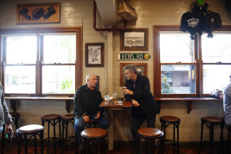 Mark Swivel has a beer in the Middle Pub in Mullumbimby. He is a mayoral candidate in the coming Byron Shire Council elections and is urging residents to get vaccinated in the northern NSW hippy town