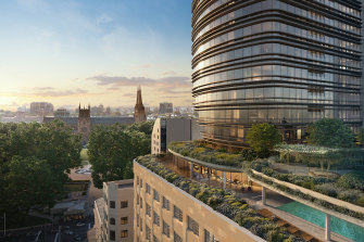 An artist's impression of the luxury apartments at 111 Castlereagh.