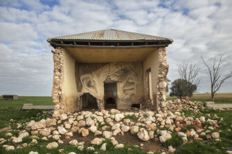 Wal Ferguson's Mallee Park Farm holds a secret mural art - this artwork needs binoculars to be viewed from the road.