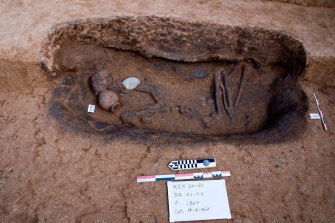 One of the ancient burial tombs recently unearthed that contained human remains and pottery.