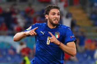 Manuel Locatelli, a former teammate of young Socceroo Reno Piscopo, celebrates his goal against Switzerland.