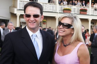 Kim Waugh and husband Mark after their horse Mahtoum won the 2005 Sydney Cup.