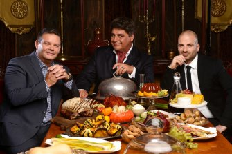 Former MasterChef Australia judges Gary Mehigan, Matt Preston and George Calombaris.