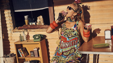 Sticky business ... A model wears one of the Arnott's-inspired pieces from the new Camilla collection.