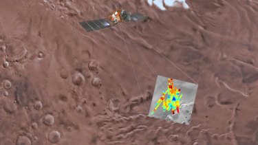 This image shows the study-area, with echoes from the ground-penetrating radar imposed on top. Blue shows the areas of strongest reflections, where water is suspected.