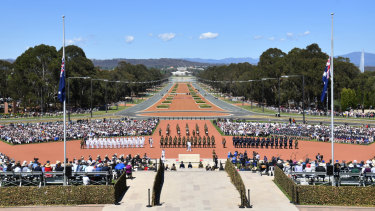 The guard of honour arrives during Remembrance Day at the Australian War Memorial, in Canberra, Sunday, November 11, 2018. Australians will gather around the country and the world to mark 100 years since the end of the Great War.