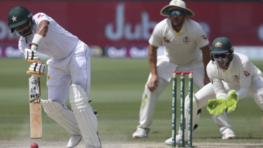 Footwork: Babar Azam bats during day four of the first Test in Dubai.