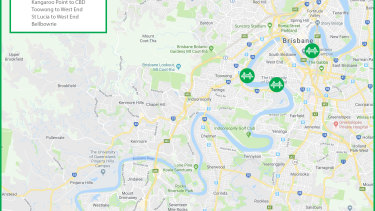 The new green bridges include the already announced Kangaroo Point to CBD river crossing, as well as Toowong to West End, St Lucia to West End, Breakfast Creek and Bellbowrie (not pictured).