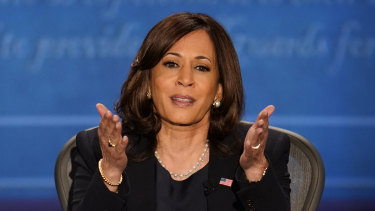 Senator Harris during her debate with Vice-President Mike Pence.