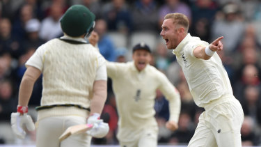 Here we go again: Stuart Broad dismisses David Warner in the first innings at Old Trafford.