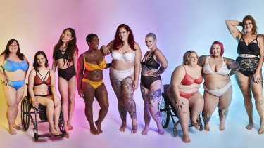 A section of the photo shoot conceived by Lori Swanton (second from right) and Jaimie Brasier (centre) of We Are Living Cute aimed at celebrating and promoting greater body diversity in advertising.