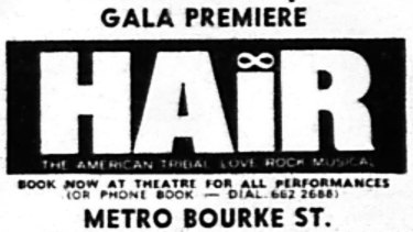Ad in The Age entertainment listings for the gala premiere.