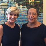 Dame Meg Taylor with then foreign minister Julie Bishop at a meeting in February to discuss Pacific nation issues.