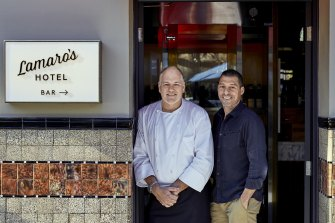 Paul Dimattina (right), proprietor of South Melbourne's Lamaro's Hotel, with executive chef Geoff Lindsay.