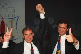 John Fahey and Rod McGeogh in Monaco in 1993, celebrating Sydney winning the hosting rights for the 2000 Olympic Games.
