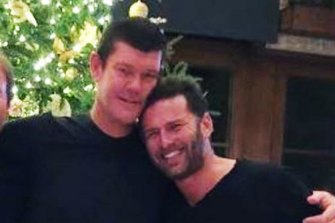 Bromance lives on: James Packer and Karl Stefanovic share Christmas in Aspen two years ago.