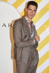 International male model Fabio Mancini at the Art Gallery of NSW.