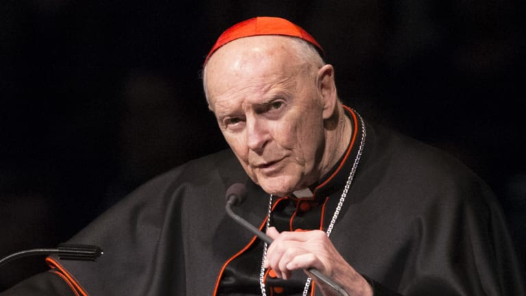 Cardinal Theodore Edgar McCarrick speaks during a memorial service in South Bend, Ind. McCarrick was removed from public ministry this year.