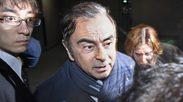 Carlos Ghosn leaves his lawyer's office in Tokyo.