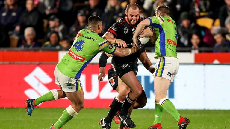 Warriors forward Simon Mannering finished his 300th NRL game on the sideline.