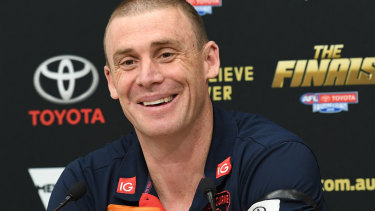 All smiles: Simon Goodwin after the Demons' big win.