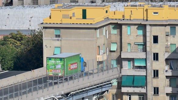 Drivers cheat death on Italian bridge as cars ahead plunge into the void