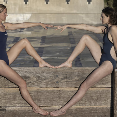 Australian Olympians Bronte Campbell (left) and Cate Campbell at the Bronte Baths in Sydney.