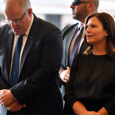 Prime Minister Scott Morrison and his wife Jenny during a Good Friday church service.