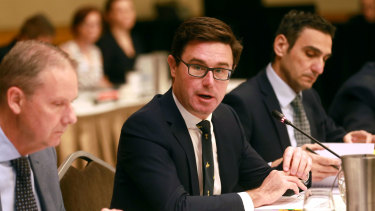 Federal Water Minister David Littleproud at the ministerial council of basin states in Brisbane on Tuesday.