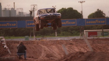 Wayne Attard goes over a jump at the Parramatta Speedway.