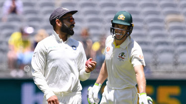 Indian captain Virat Kohli and Australian counterpart Tim Paine during the most recent Test series between the two teams.