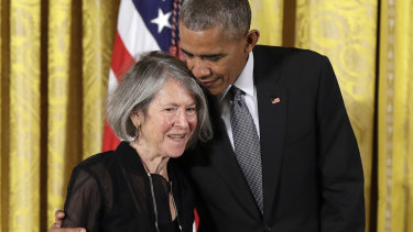 Then-US president Barack Obama with poet Louise Gluck, pictured in 2016. Gluck has won the 2020 Nobel prize in literature.