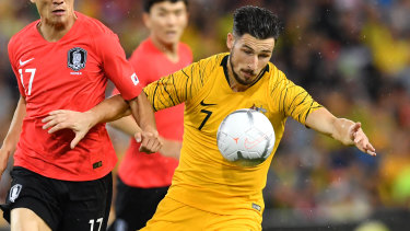 Wait and see: Graham Arnold says it's too early to tell if Mathew Leckie will play at the Asian Cup.