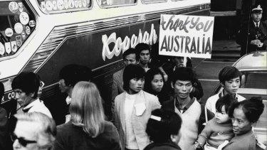 Vietnamese refugees arrive in Australia in 1977.