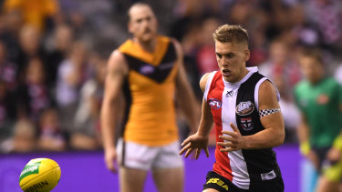 Game on: Jack Lonie kicked the match-winning goal for St Kilda.