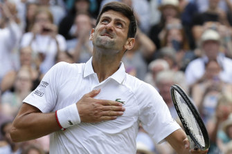 Novak Djokovic looks to the heavens after his epic win in the 2019 Wimbledon final.
