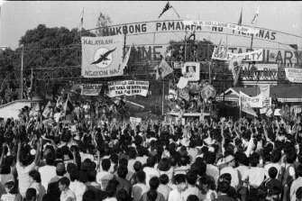 """Part of the """"People Power"""" revolt in the Philippines that helped topple Marcos."""