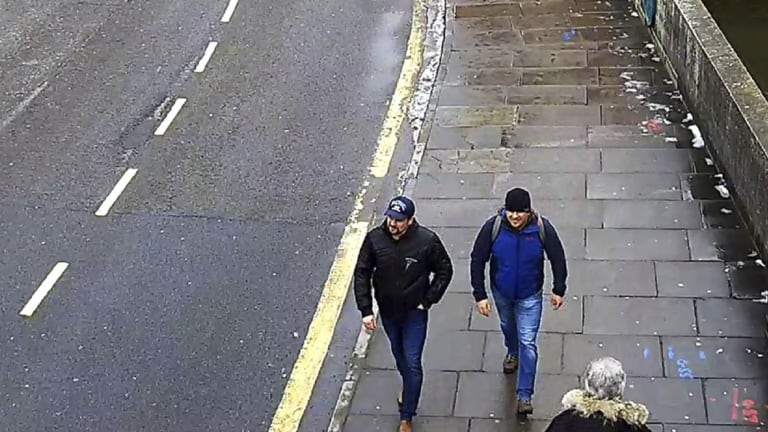 This still taken from CCTV shows Ruslan Boshirov and Alexander Petrov on Fisherton Road, Salisbury, England on March 4, 2018.