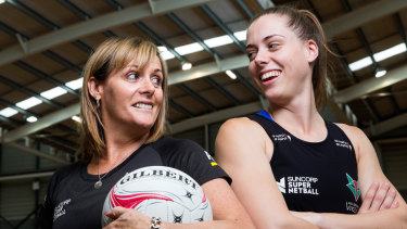 Tayla Honey (right) with her mother and former Australian netballer, Di, now coach of the Victorian Fury.