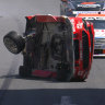 Fan claims shock absorber from Supercars crash landed on hotel balcony