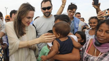 UNHCR's special envoy Angelina Jolie meets Venezuelan migrants at a United Nations-run camp in Maicao, Colombia, on the border.