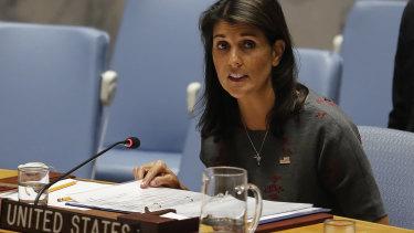 United States UN Ambassador Nikki Haley.