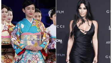 A woman wears a traditional kimono in Fukuoka, Japan, left, and Kim Kardashian West whose appropriation of the word for use in lingerie has people in Japan disappointed.
