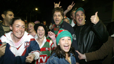 Russell Crowe with Rabbitohs fans after the round 24 win against the Roosters in 2005.