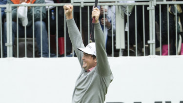 Relief: Keegan Bradley claimed his first tournament win since 2012.