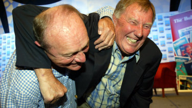 Harvey and Singleton settle their differences at the Magic Millions in 2005.