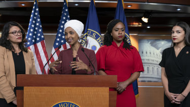 "From left, US Representatives Rashida Tlaib, Ilhan Omar, Ayanna Pressley and Alexandria Ocasio-Cortez addressing the media after Trump called for Democrative congresswomen of colour to ""go back"" to their ""broken countries""."