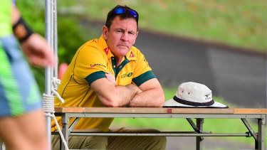 Wallabies selector Michael O'Connor watches on at Australian training during last year's World Cup in Japan.